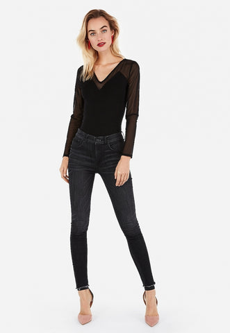 V-Neck Mesh Long Sleeve Top