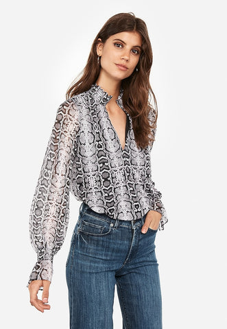 Snakeskin Print V-Neck Smocked Top