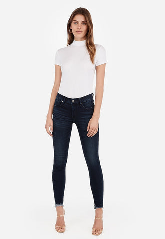 Mid Rise Denim Perfect Raw Hem Ankle Leggings