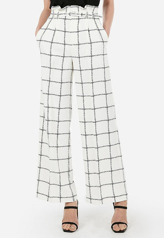 High Waisted Windowpane Belted Wide Leg Paperbag Pant