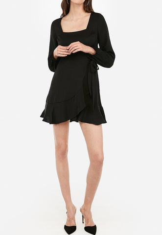 Square Neck Ruffle Wrap Dress