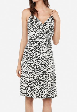 Leopard Print Twist Front Midi Fit And Flare Cami Dress