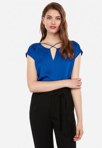 Satin Cross Front Gramercy Tee