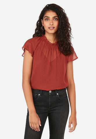 Dot Print Ruffle Neck Top