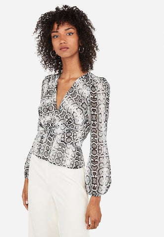 Snakeskin Print Deep V-Neck Twist Peplum Top