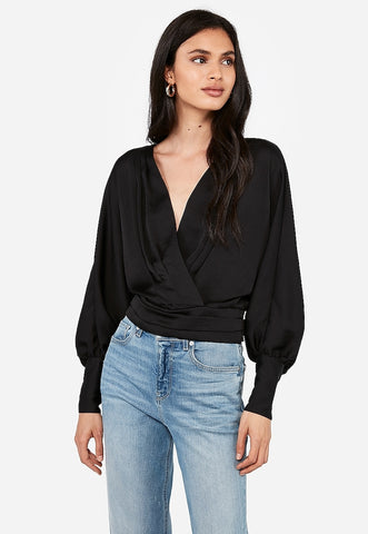 Satin Pleated Surplice Dolman Sleeve Top