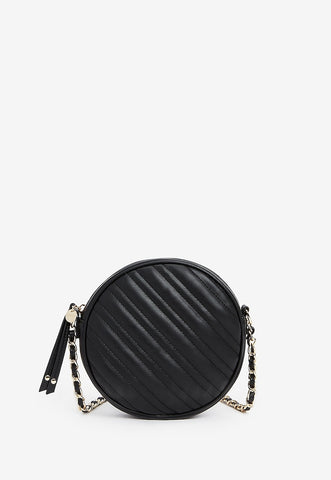 Quilted Circle Chain Strap Crossbody Bag
