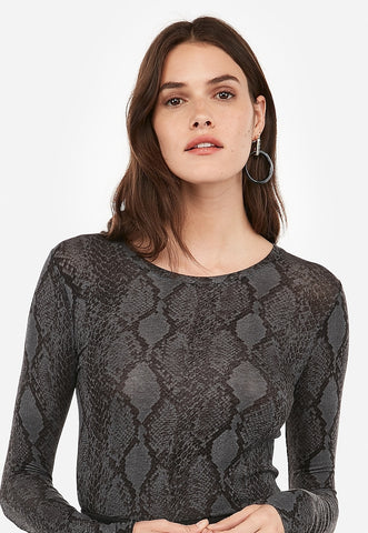 Snakeskin Print Long Sleeve Crew Neck Tee