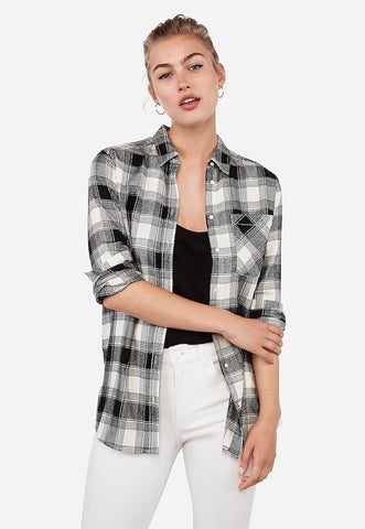 Plaid Boyfriend Flannel Shirt