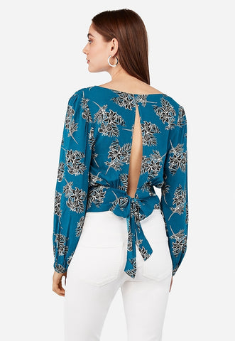 Lily Print Tie Back Surplice Top