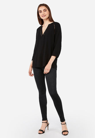 Deep V-Neck Eyelet Trim Popover Top
