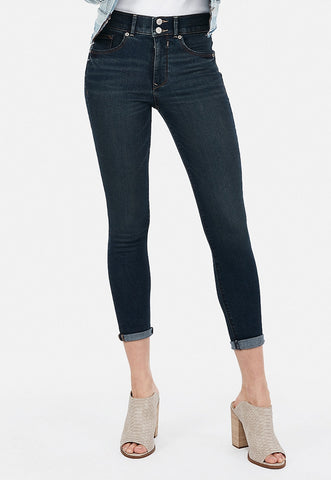 High Waisted Denim Perfect Cropped Leggings