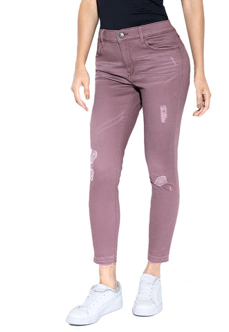 Mid Rise Twill Crop Pant