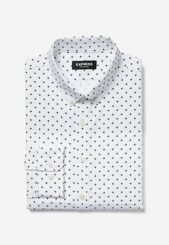 slim print button-down dress shirt