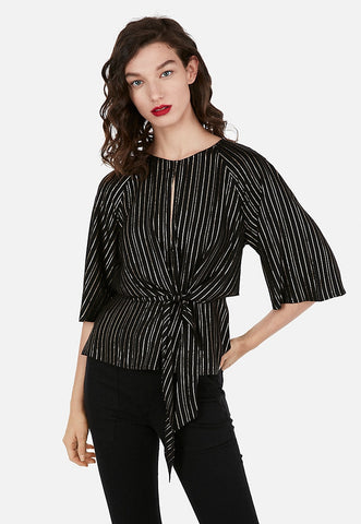 metallic striped flutter sleeve cut-out tie front blouse