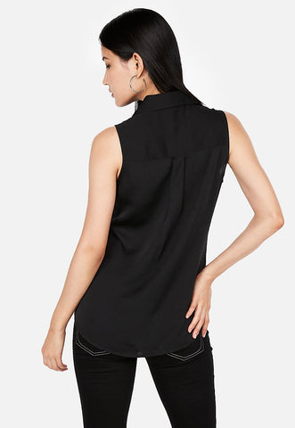 slim sleeveless satin portofino shirt