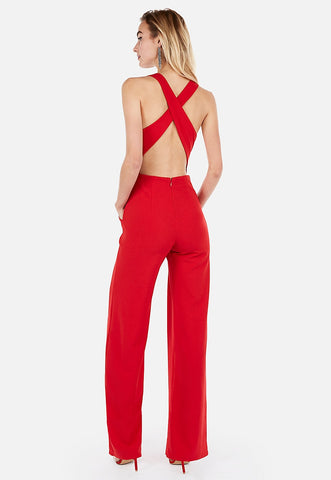 cross back wide leg jumpsuit