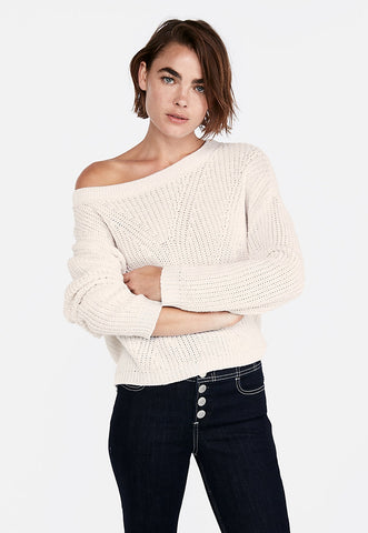 cable knit split back pullover sweater