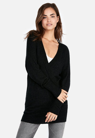 banded bottom wrap front tunic sweater