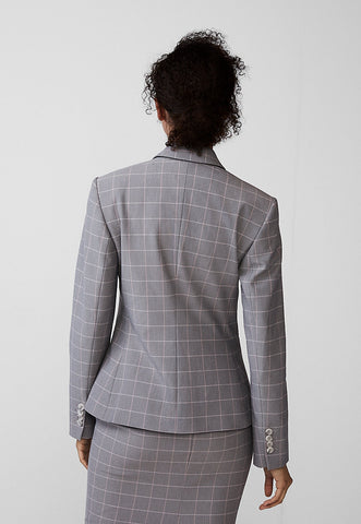 Windowpane Notch Collar Blazer
