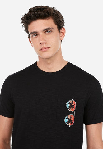 embroidered sunglasses pocket slub t-shirt