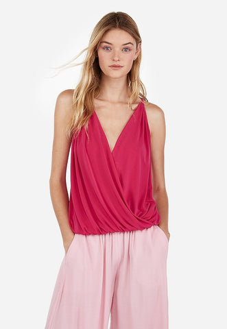 banded bottom surplice cami