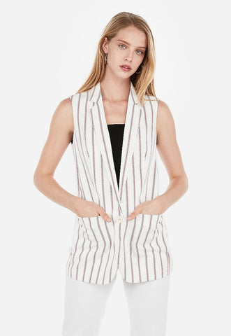 striped sleeveless boyfriend blazer