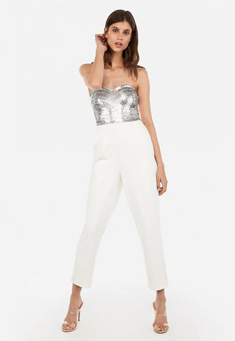 embellished sequin bodice strapless sweetheart jumpsuit