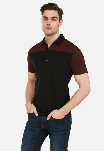 color block stripe moisture-wicking polo