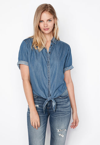Tie Front Studded Denim Shirt