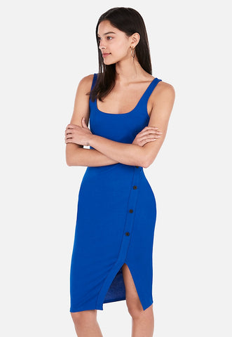 asymmetrical button up bodycon midi dress