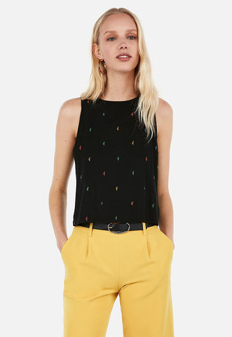 cactus embroidered cropped tank