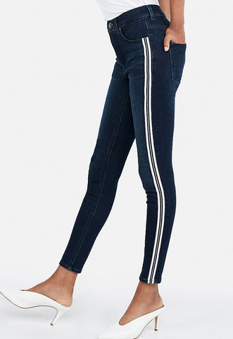 high waisted denim perfect metallic side stripe ankle leggings