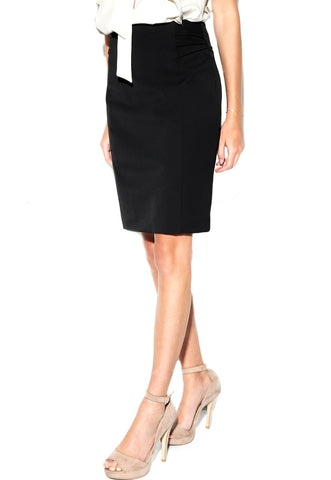 High Waisted Pintucked Pencil Skirt