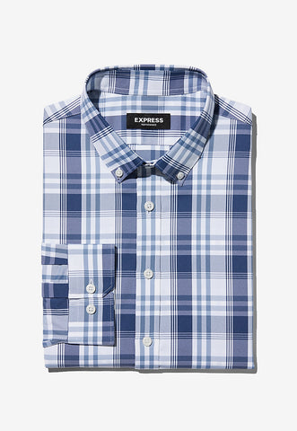 extra slim plaid wrinkle-resistant performance dress shirt
