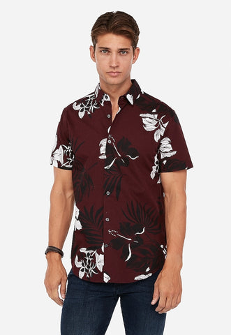 slim hawaiian print button-down short sleeve shirt