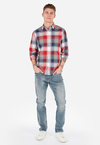 slim plaid soft wash shirt