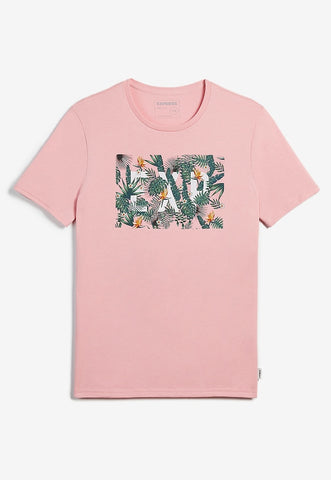 jungle print embroidered graphic t-shirt