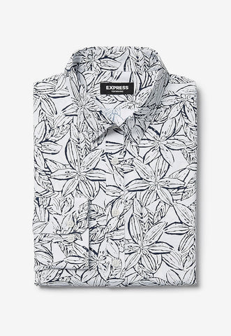 extra slim leaf print wrinkle-resistant performance shirt