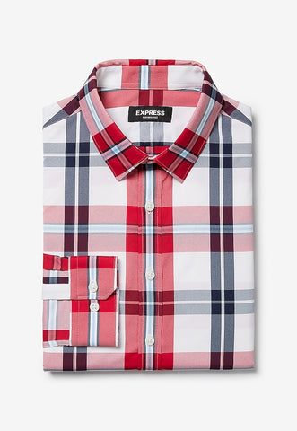slim plaid button-down wrinkle-resistant performance dress shirt