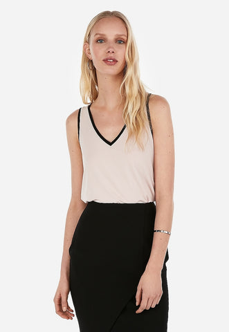 relaxed piped v-neck tank
