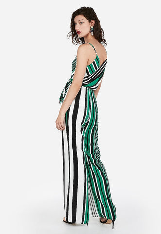 striped surplice tie front wide leg jumpsuit