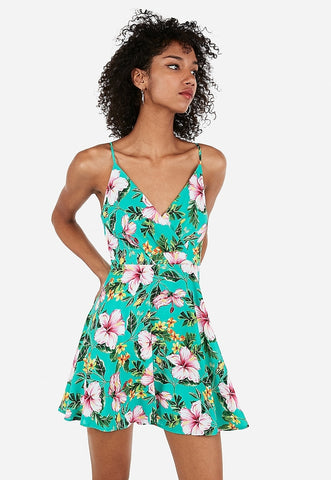 floral surplice front fit and flare dress