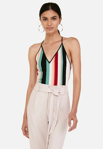 multi stripe deep v racerback ribbed thong bodysuit