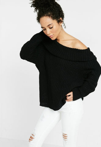 solid dolman cowl neck shaker pullover