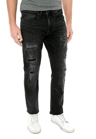 Slim Black Destroyed Stretch Jeans