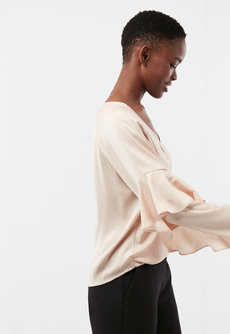 Solid Surplice Satin Ruffle Sleeve Blouse