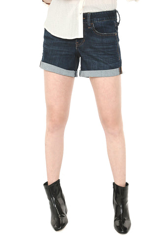 Low Rise Rolled Hem Stretch Denim Shorts