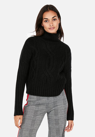 cable knit abbreviated turtleneck sweater