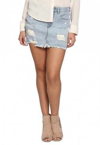 Mid Rise Light Wash Denim Skirt
